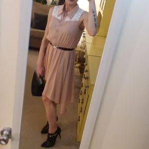 Blush Crochet Collar Midi Hi Lo Dress